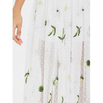 Embroidery Tulle A Line Midi Skirt - MILK WHITE ONE SIZE