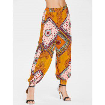 Tribal Print Harem Pants - CONSTRUCTION CONE ORANGE 2XL
