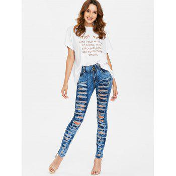 Ripped Frayed Skinny Jeans - SAPPHIRE BLUE S