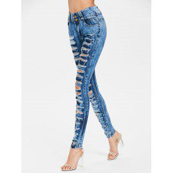 Ripped Frayed Skinny Jeans - SAPPHIRE BLUE M