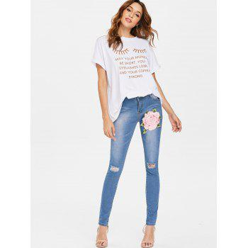 Embroidered Applique Distressed Jeans - JEANS BLUE L