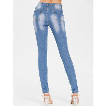 Embroidered Applique Distressed Jeans - JEANS BLUE XL