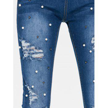 High Waisted Beaded Distressed Jeans - JEANS BLUE 2XL
