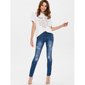 High Waisted Beaded Distressed Jeans - JEANS BLUE M