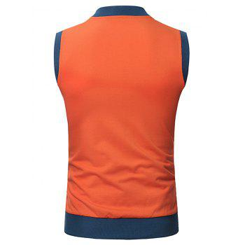 Pocket Full Zip Color Block Summer Causal Vest - TANGERINE M