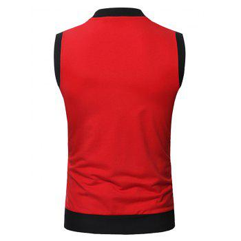 Pocket Full Zip Color Block Summer Causal Vest - RED XS