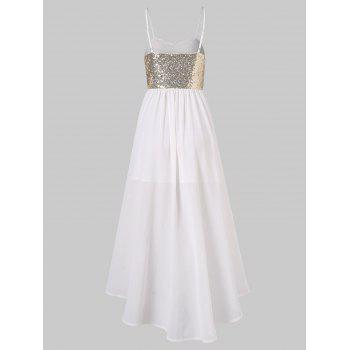 Sequins High Low Party Dress - MILK WHITE L