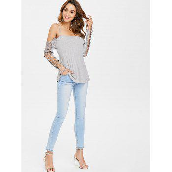 Spaghetti Strap Cold Shoulder Lace Insert Tee - LIGHT GRAY M