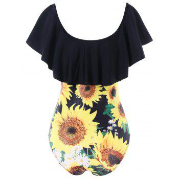 Ruffle Sunflower One Piece Swimsuit - BLACK L
