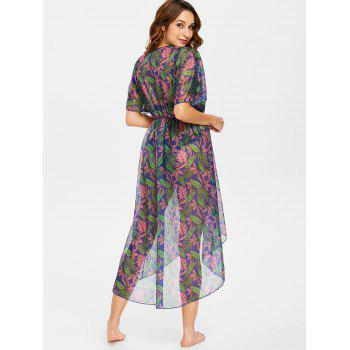 Leaf High Low Tie Front Cover Up - PALE VIOLET RED M