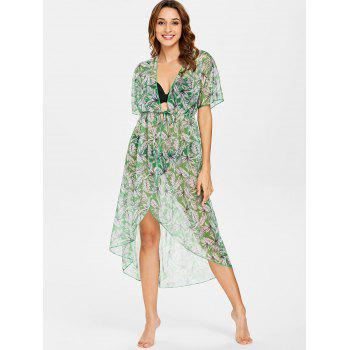 Leaf High Low Tie Front Cover Up - PINE GREEN M