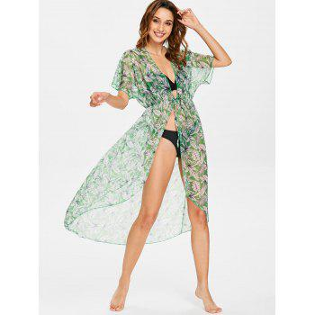 Leaf High Low Tie Front Cover Up - PINE GREEN L