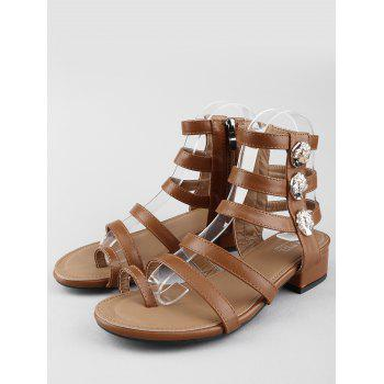 Low Heel Gladiator Strappy Thong Sandals - DEEP BROWN 37