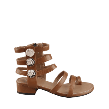 Low Heel Gladiator Strappy Thong Sandals - DEEP BROWN 38