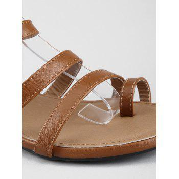 Low Heel Gladiator Strappy Thong Sandals - DEEP BROWN 39