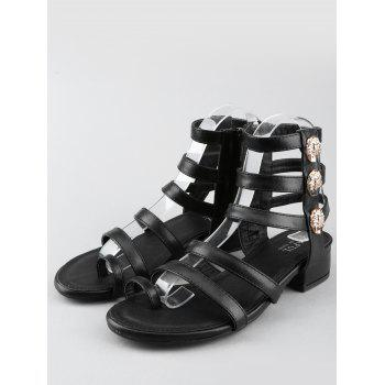 Low Heel Gladiator Strappy Thong Sandals - BLACK 38