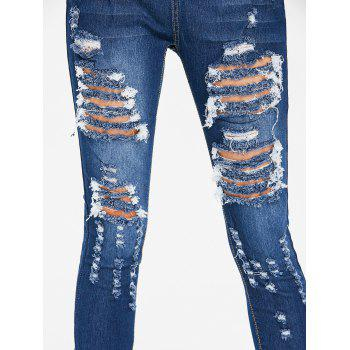 High Waisted Distressed Jeans - DEEP BLUE S