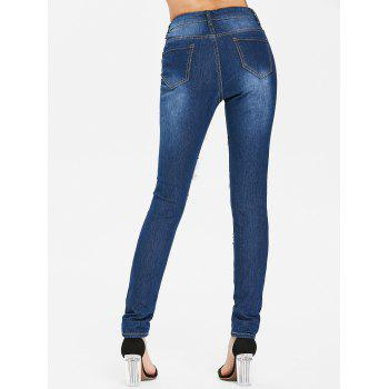 High Waisted Distressed Jeans - DEEP BLUE L