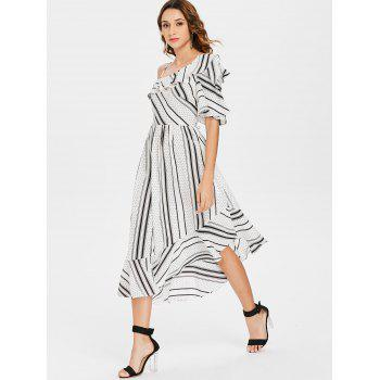 Polka Dot Stripe Asymmetric Chiffon Ruffle Dress - WHITE XL