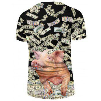 3D Piggy Greenback Print Casual T-shirt - multicolor M