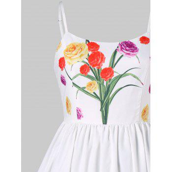 Floral Print Vintage Slip Dress - WHITE M