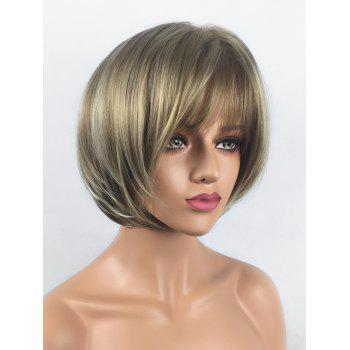 Short Inclined Bang Straight Bob Colormix Synthetic Wig - multicolor