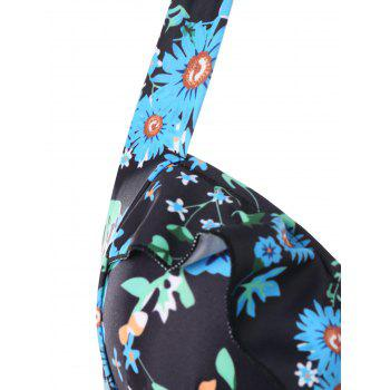 Daisy Printed Empire Waist Handkerchief Tankini - BLACK XL