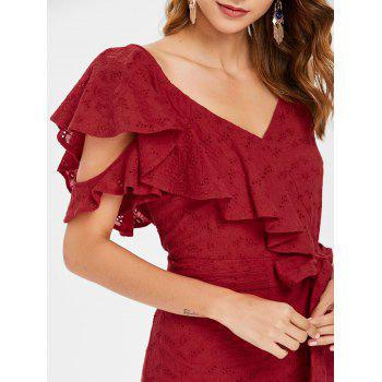 Broderie Ruffle Tie Waist Faux Wrap Dress - CHESTNUT RED M