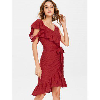 Broderie Ruffle Tie Waist Faux Wrap Dress - CHESTNUT RED 2XL