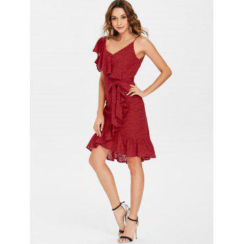 Broderie Ruffle Tie Waist Faux Wrap Dress - CHESTNUT RED L