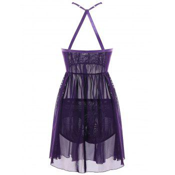 Plus Size Cut Out Strappy Chemise - PURPLE 5XL