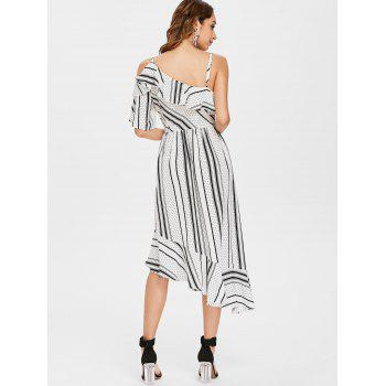 Polka Dot Stripe Asymmetric Chiffon Ruffle Dress - WHITE M
