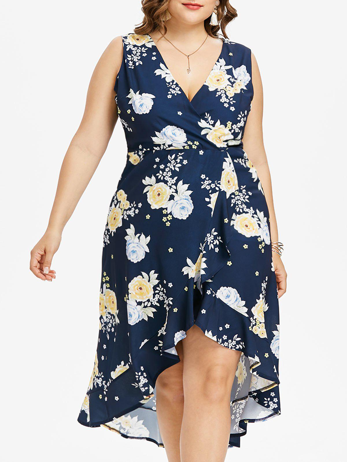 Plus Size Print Ruffle Overlap Dress - DEEP BLUE 1X