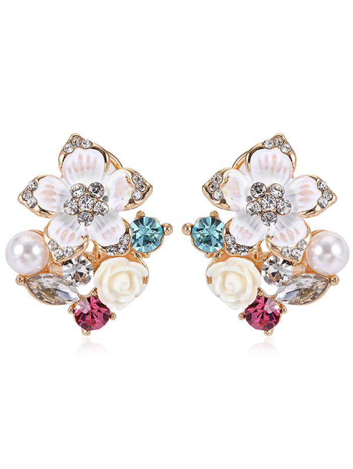 Pair of Rhinestone Floral Faux Pearl Stud Earrings faux pearl round stud earrings