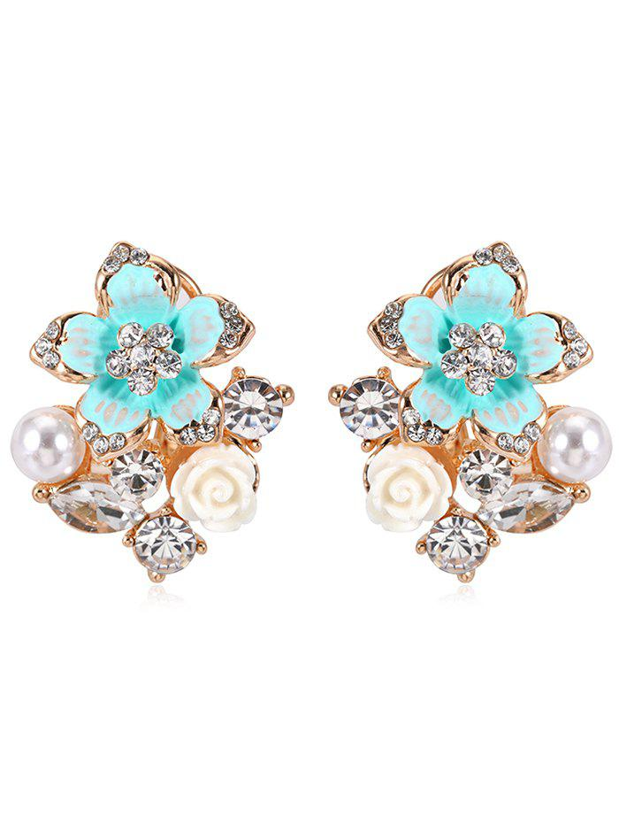 Pair of Rhinestone Floral Faux Pearl Stud Earrings faux pearl beaded round floral earrings
