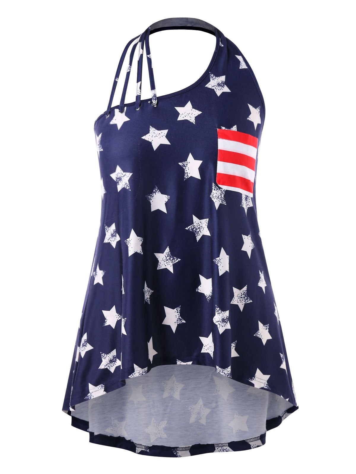 цены Plus Size High Low Patriotic Tank Top