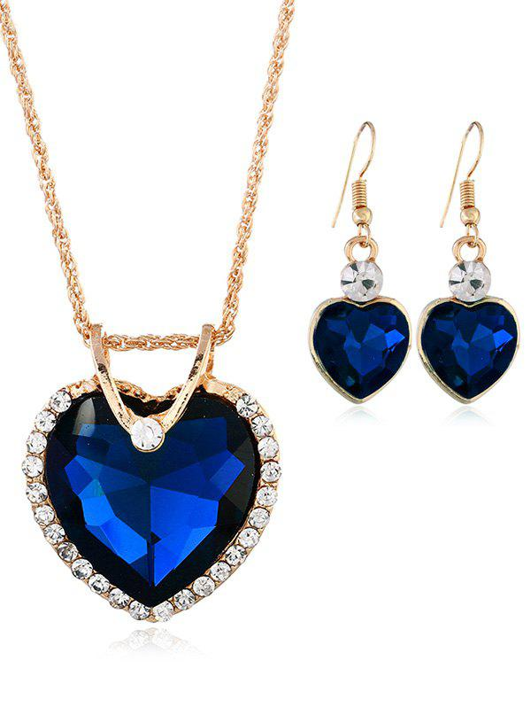 Vintage Rhinestone Inlaid Crystal Heart Jewelry Set - ROYAL BLUE