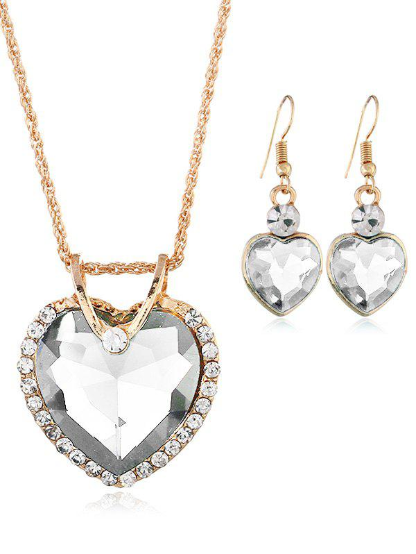 Vintage Rhinestone Inlaid Crystal Heart Jewelry Set - WHITE