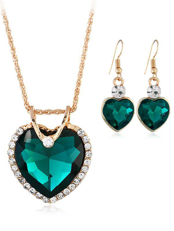 Vintage Rhinestone Inlaid Crystal Heart Jewelry Set - MEDIUM AQUAMARINE