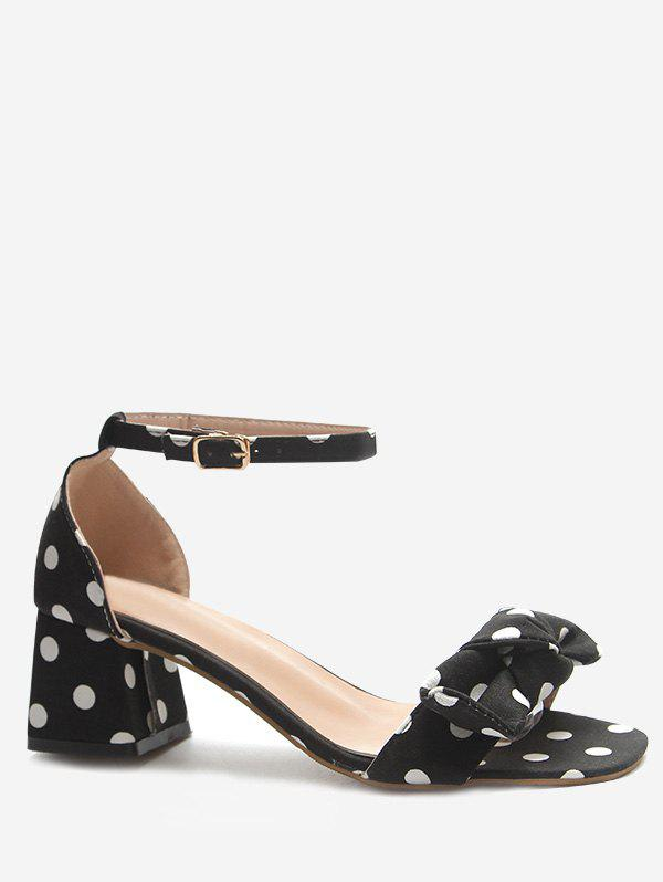 Polka Dot Chunky Heel Ankle Strap Pumps - BLACK 39