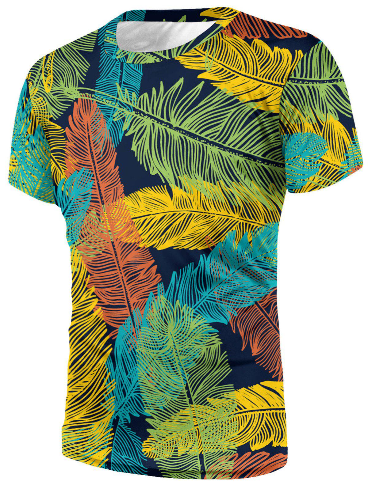 Crew Neck Leaf Print T-shirt - multicolor S
