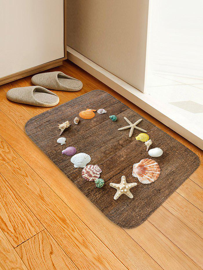 Uhommi Shells Starfish Conch Plank Printed Non-slip Area Rug starfish conch coral velvet floor area rug