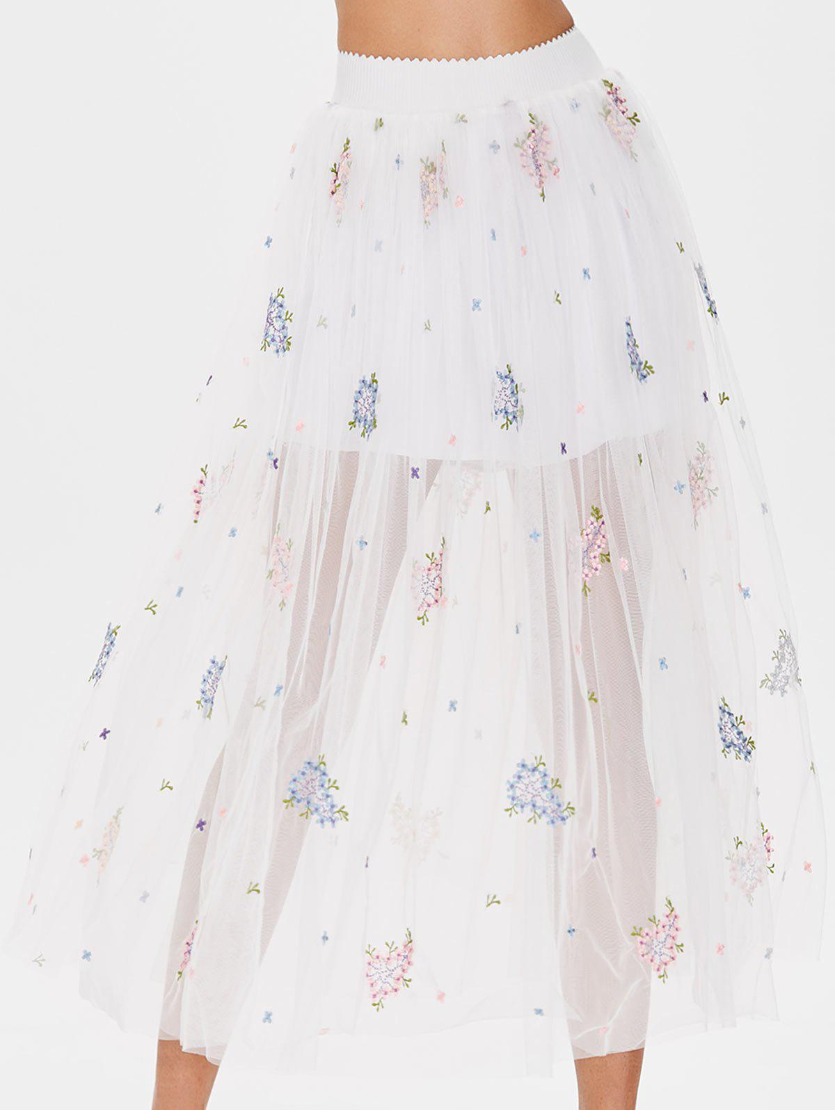 Floral Embroidered Tulle Midi Skirt - MILK WHITE ONE SIZE