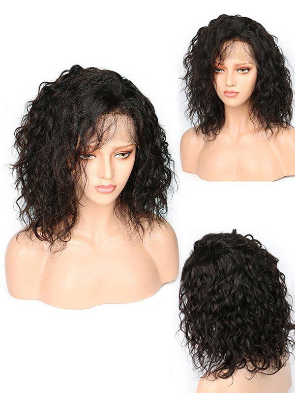 Medium Oblique Bang Natural Wavy Lace Front Synhtetic Wig - BLACK