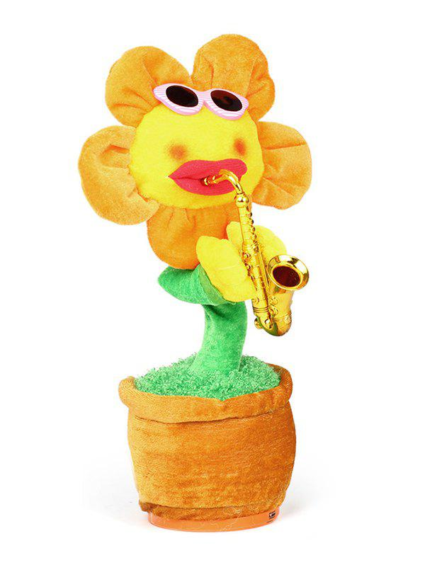 Saxophone Singing Dancing Simulation Electric Bluetooth Sun Flower Plush Toy - BEE YELLOW