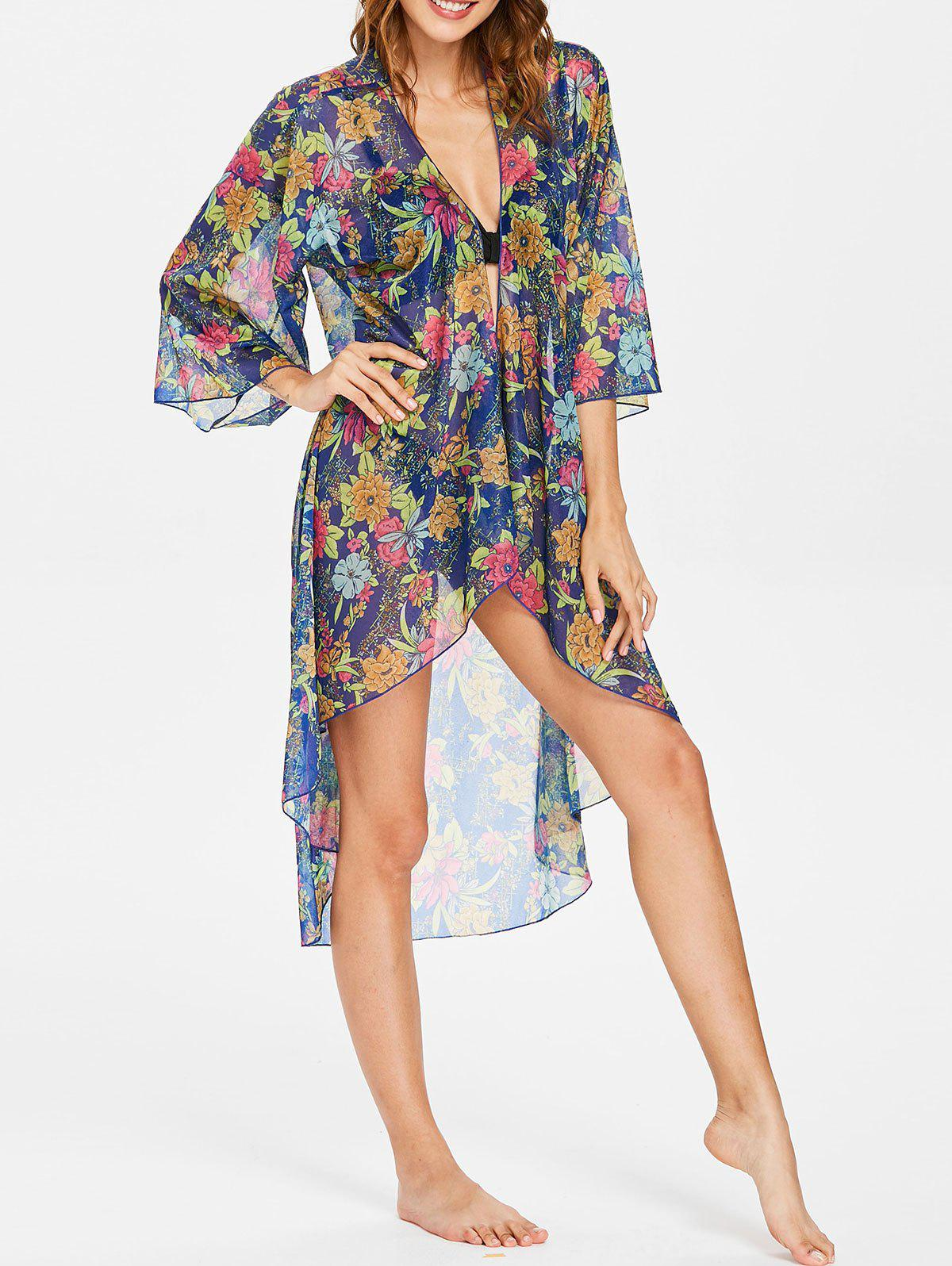Flower Sheer High Low Cover Up - NAVY BLUE ONE SIZE