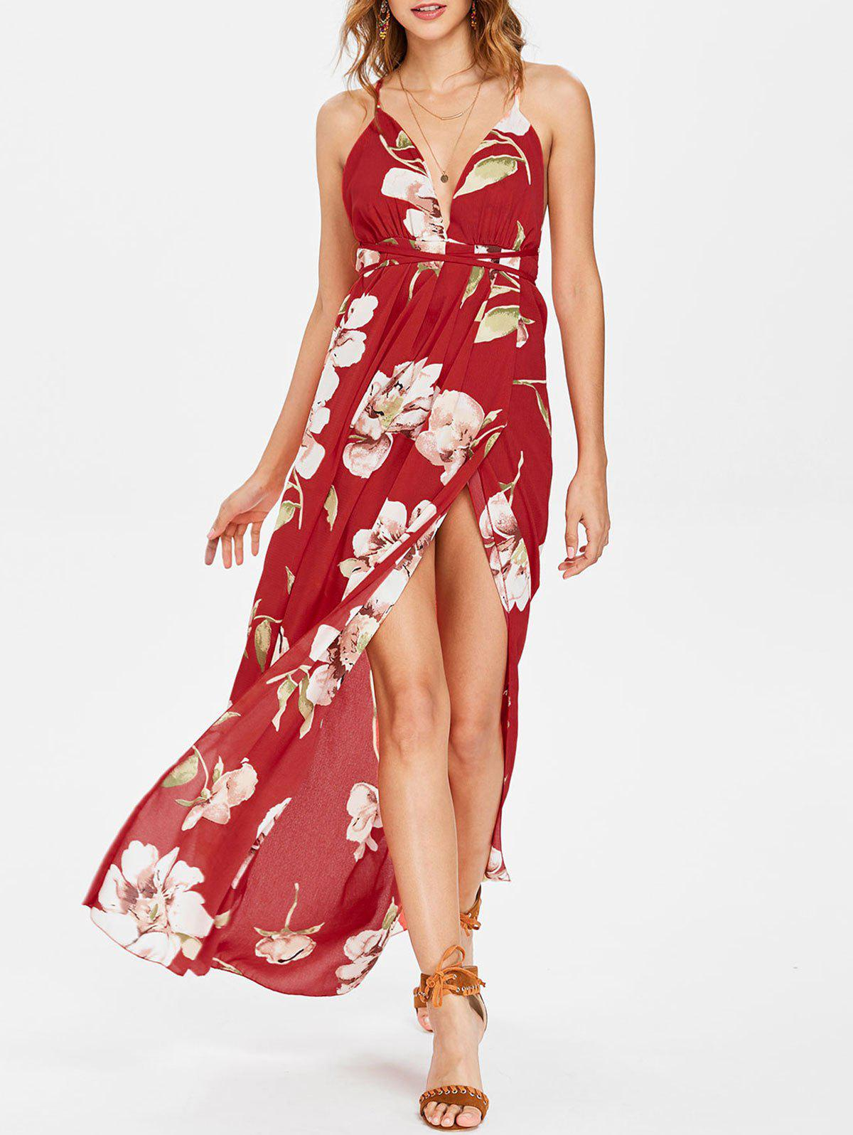 Flower Printed Low Cut Maxi Dress табурет basiс plus kettler