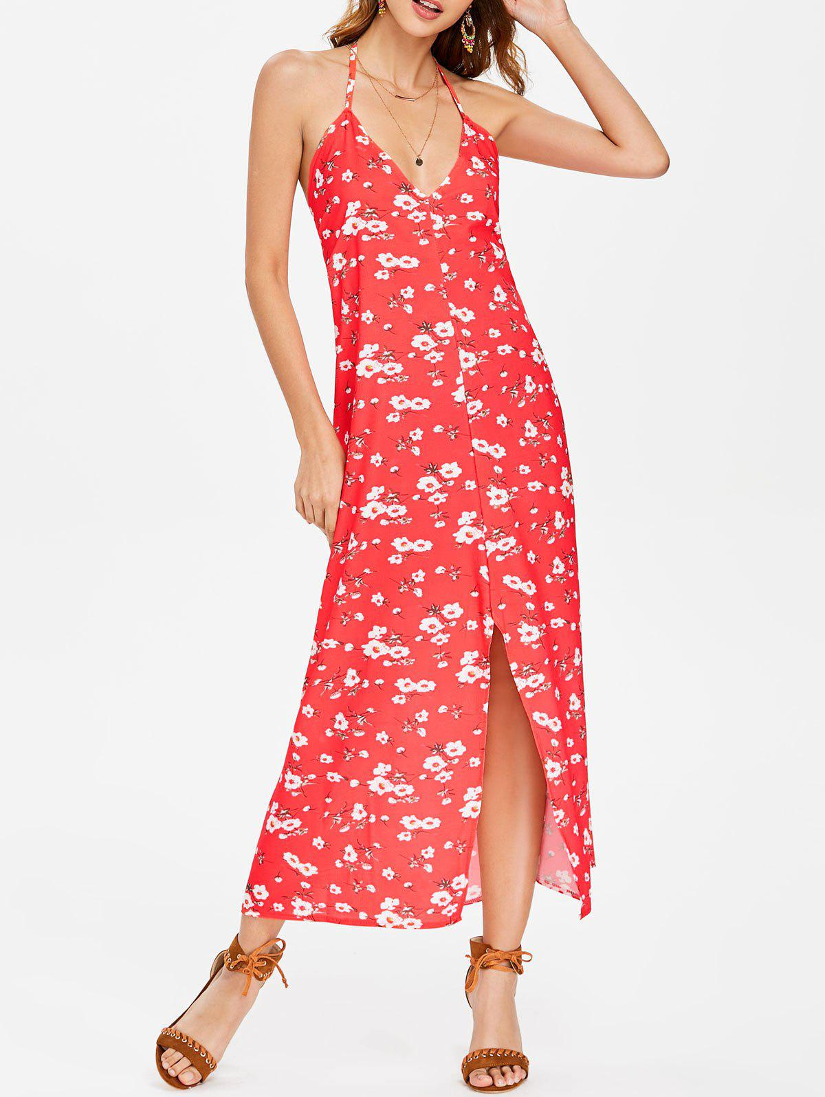 Floral Print Halter Maxi Dress - FIRE ENGINE RED M