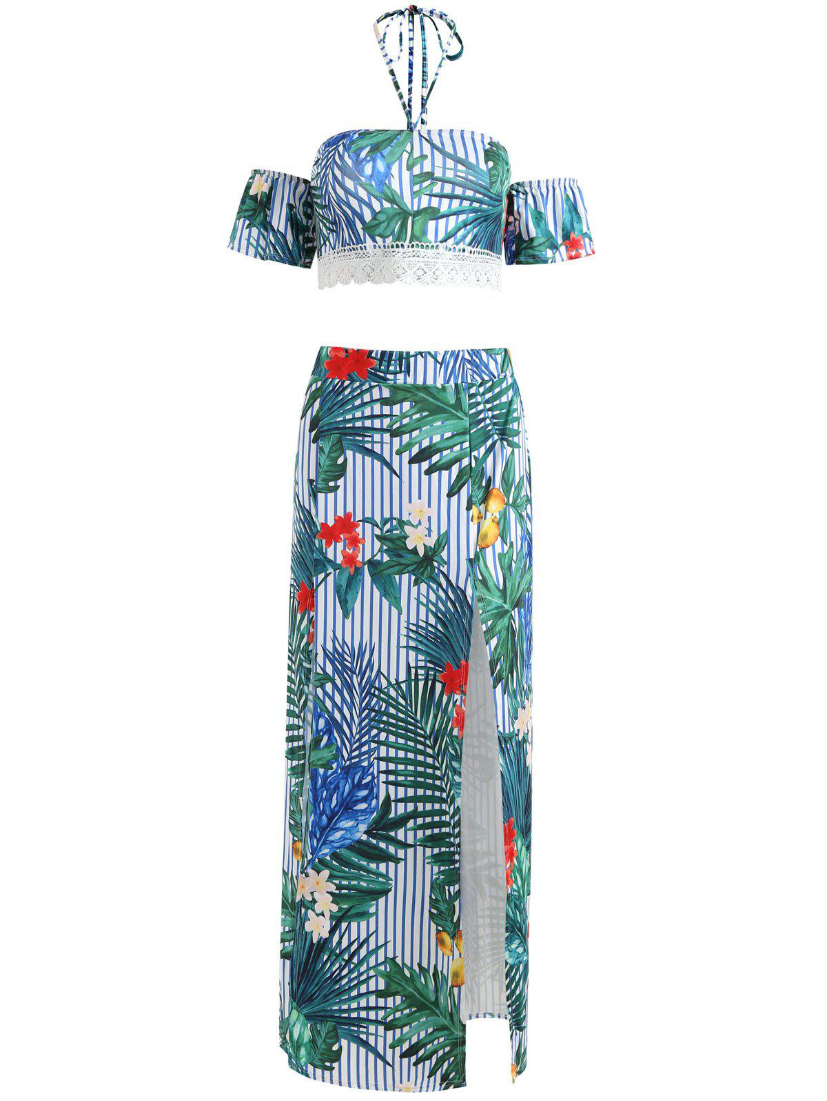 Floral Off Shoulder Crop Top with Slit Skirt - multicolor L