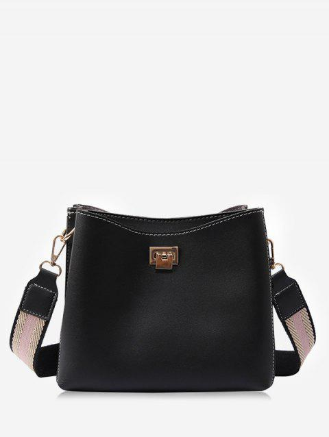 Faux Leather Causal Shopping Minimalist Crossbody Bag - BLACK